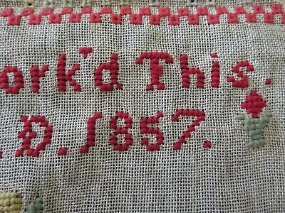 ANTIQUE Sixth Grader Sampler Dated 1857 Beautiful Needlework Bright Colors