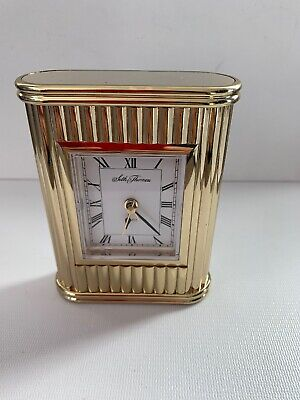 Seth Thomas Art Deco Mantel Clock - All Brass Vintage 1960 ..works With Alarm.