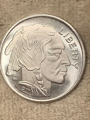 One Troy Ounce .999 Fine Indian//buffalo  Silver Round #1 uncirculated