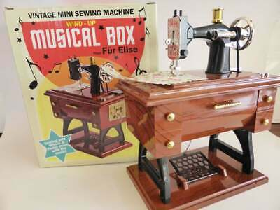 Mini Sewing Machine Music Box, Vintage Musical Box in Original Packaging