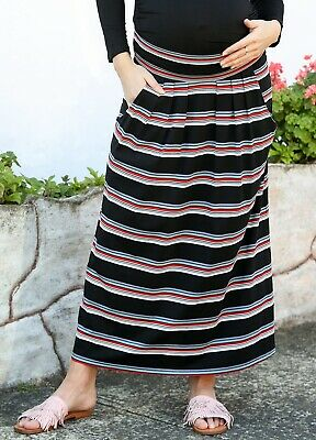 Trimester® - Kyle Striped Maxi Maternity Pregnancy Skirt with pockets