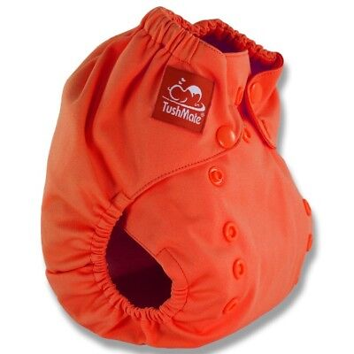 TushMate Reusable Cloth Diaper one size fits all 8-40 lbs Orange-Infants to Tots