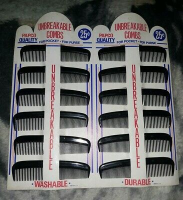 Vintage Papco Unbreakable Combs Display with 12 Combs NOS