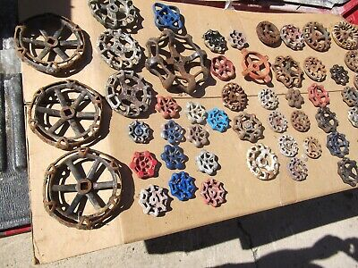 VINTAGE Lot of 50+ Cast Iron Water Valve Faucet Handles Industrial STEAMPUNK
