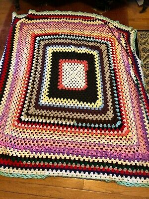 Vintage Afghan with Square Designs and Multi Color