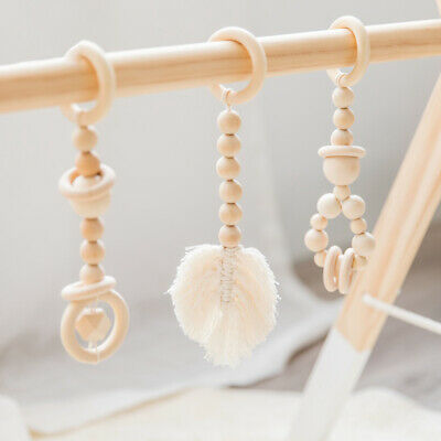 Leaf Macrame Tassel Natural Wooden Beads Ring Baby Activity Play Gym Toys Rattle