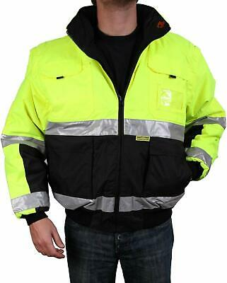 Safety Jacket Class 3 ANSI Approved 8 Pockets, Reversible, Removable Sleeves