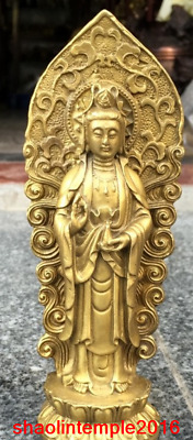 "7.2""""Old China antique Pure copper Amitabha Guanyin Buddha statue statue"
