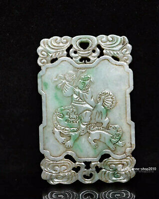 7cm China natural Old Emerald Jade Hand-carved character Pendant Amulet  AJJO