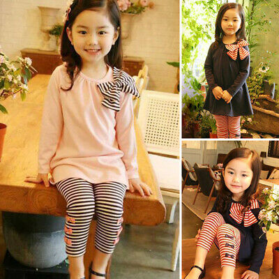 Children Girls Toddler Pullover Crew Neck Tops+pants Striped Leggings Outfit Set