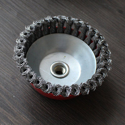 65mm Rotary Brass Steel Wire Brush Crimp Cup Bevel Wheel Angle Grinder GO9