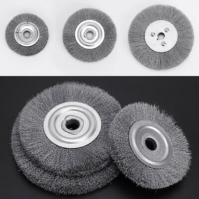 """3-12""""Flat Crimped Stainless Steel Wire Brush Wheel for Grinder Buffing Descaling"""
