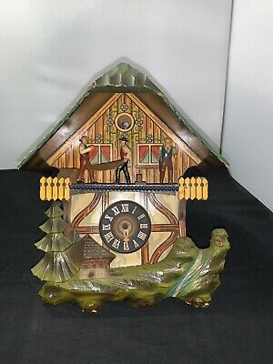 Vintage E. Schmeckenbecher Cuckoo Clock West Germany Black Forest Sawmill 1968