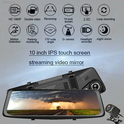 "10"" HD 1080P Dual Lens Car Dash Cam Recorder Video DVR Touch Mirror Night Vision"