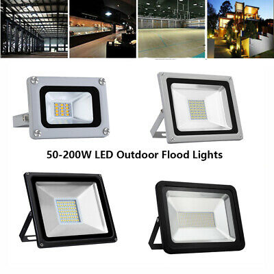 50-200W LED Outdoor Flood Lights Landscape Spotlight WorkShop WaterProof IP65 UK