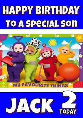 TELETUBBIES b PERSONALISED BIRTHDAY CARD - ANY NAME, AGE, RELATION