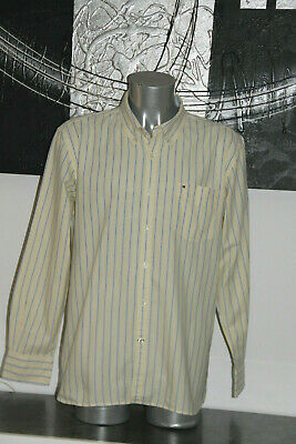 Pretty Shirt Yellow Striped tommy hilfiger Custom Fit Size XL Mint