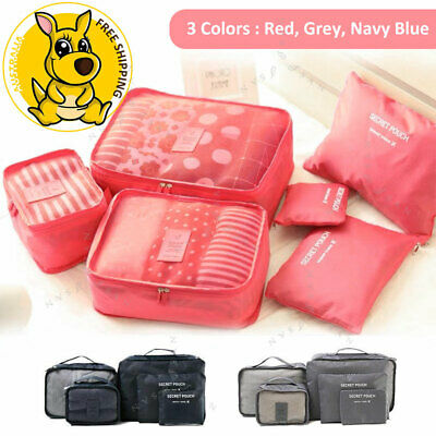 6Pcs Travel Storage Bag Packing Cubes Pouches Luggage Organiser Clothes Suitcase