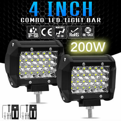 "4x 200W 4"" inch Work Lights CREE Spot Beam LED Light Bar Reverse 4WD 12V 24V"