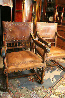 Pair of Armchairs Walnut Solid Carved Leather Monogrammed Gold Style Renaissance