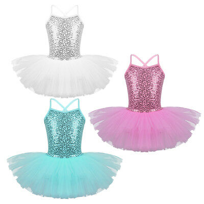Girls Sequined Ballet Dance Leotard Tutu Dress Sparkly Fairy Dance Wear Costumes