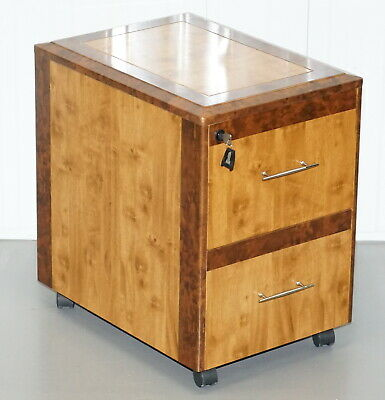 Small Burr Walnut Filing Cabinet Drawers Side Lamp End Wind Table Part Of Suite