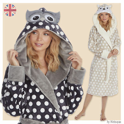 Ladies Animal Themed Spotted Hooded Dressing Gown Polka Dots Girls Robes Dotted