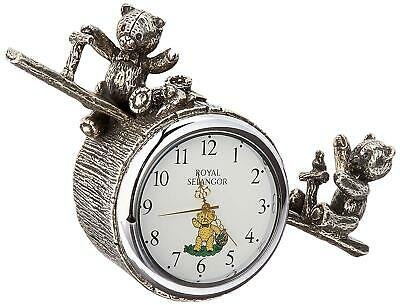 Teddy Bears' Picnic  Playtime See-Saw Pewter Table Clock by Royal Selangor