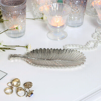 Silver Feather Trinket Dish vintage luxury home decor jewellery storage gift