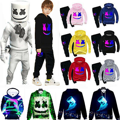 Kids Boy DJ Marshmallow Cosplay Tracksuit Jumpsuit Mask Hoody Sweatshirt Costume