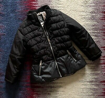 River Island Girls Black Winter Jacket Parka Style Age 5 Years Excellent Conditi
