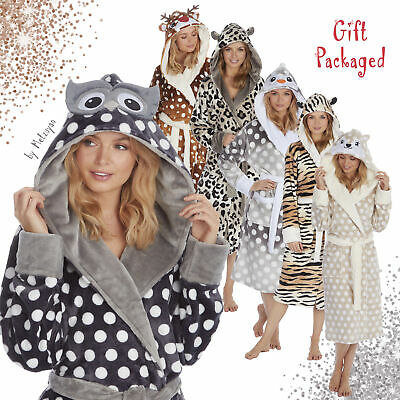 Womens Novelty Animal Print Hooded 3D Face Dressing Gowns Ladies Fleece Robe NEW