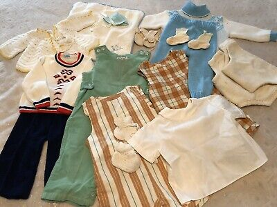 Vintage Baby/ Toddler Clothing Girls And Boys Crochet Pcs. And Wire Hangers.
