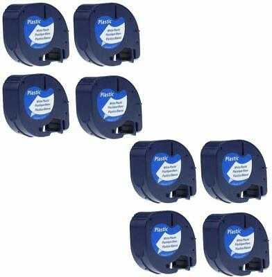 8PK Compatible with Dymo Letratag Refill Plastic 91201 Label Tape 12mm LT-100H