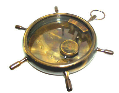 For Small Boat Safety Sailboat Inclinometer In Brass. Lovely Shipwheel Frame