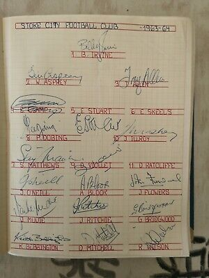 Football: Originial autographs of the players of Stoke City 1963-4