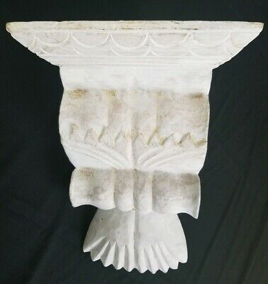 Vintage Wooden Corbel Wall Shelf Neo-Classical Corner Mount Style