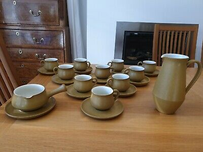 Vintage Denby Ode Stoneware Tea / Coffee Cups & Saucers Mustard 10sets Available