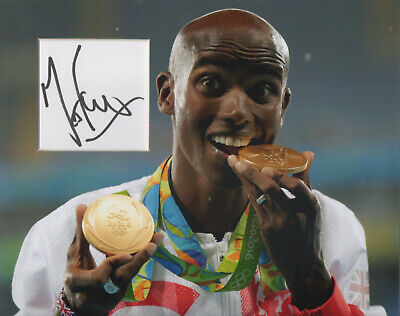MO FARAH Signed 10x8 Photo Display OLYMPIC ATHLETIC Legend GOLD MEDAL COA
