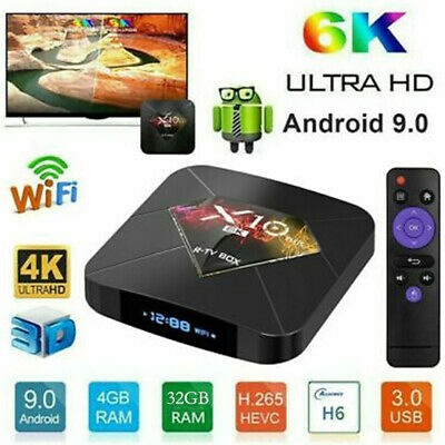 X10 PLUS Android 9.0 Smart TV Box 4GB+32G/64G Quad Core 4K HD WiFi+Tastiera V8Z4