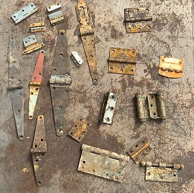 20 Steampunk Vintage Antique Rustic Barn Hinges Straps Wrought Iron Lot