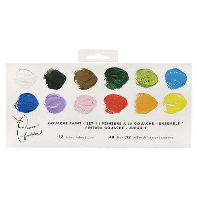 American Crafts Paper Fashion Collection Set 1 Gouache Paints - Pack of 12 Tubes