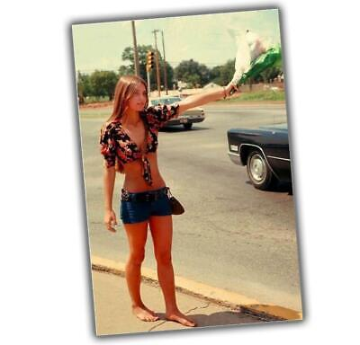 the girl wants to go hitchhiking 60s Nice sexy woman Retro Vintage Photo 4x6 T