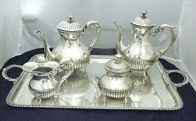 Vintage Magnificent 4 Pc Coffee & Tea Set Sterling Silver 800
