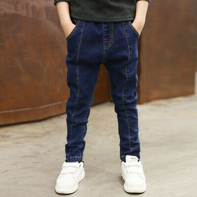 IENENS Boys Jeans Denim Pants Clothes  Youth Boy Solid Stylish Casual Trousers