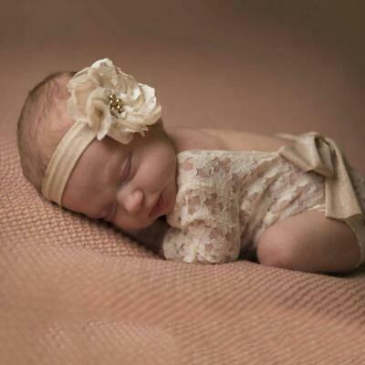Newborn Infant Baby Lace Bow Romper Girl Photo Photography Prop Outfit Clothes