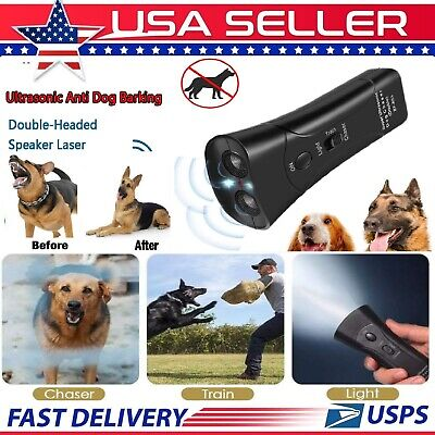 Ultrasonic Anti Dog Barking Device Pet Trainer LED Light Gentle Chaser Style USA