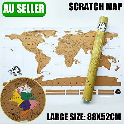 Large World Scratch Map Travel Edition Poster Layer Off where you Travel Atlas A