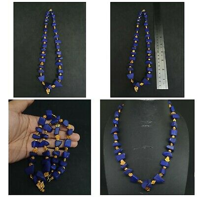 Unpolished top Lapis lazuli Stone And Brass Gold plated Beads Unique necklace #Q