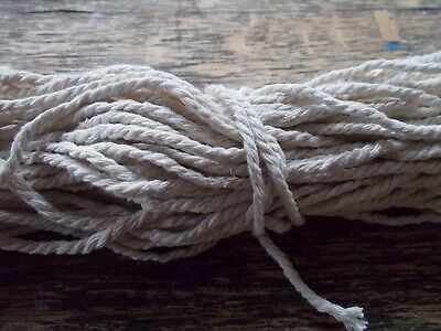 1 x 20m skein 3mm wide macrame cord rope twisted cotton, colour is off-white